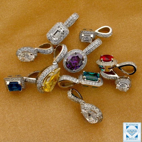 Cubic zirconia pendants in platinum 18k and 14k gold cubic zirconia pendants aloadofball Gallery