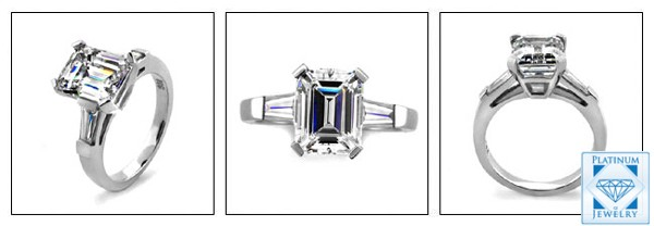 3ct Emerald Cut Cz Tapered Baguette Ring