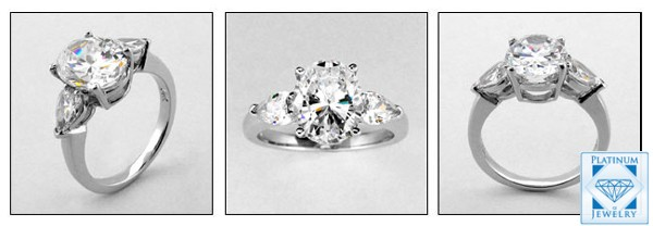 3ct Oval Center Stone Cz Pear Sides 3 Stone Ring