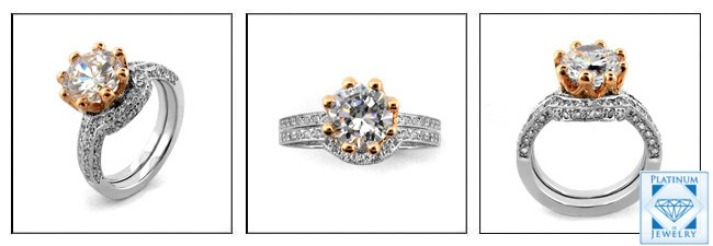 two tone rose gold and 14k white gold cubic zirconia engagement ring - High Quality Cubic Zirconia Wedding Rings