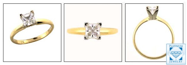0 50 Carat Princess Cut Cz Solitaire Ring In Tiffany Setting