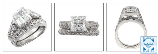 Euro shank Engagement ring set with 1.5 carat cz