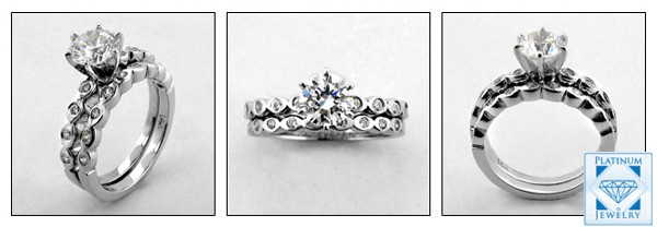 1.0 CARAT CZ PLATINUM ENGAGEMENT RING SET