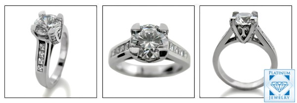 1.5 Carat High Quality Round Cubic Zirconia Engagement  Platinum Ring