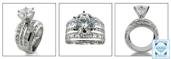 cubic zirconia engagement platinum ring