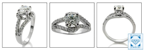 1 Carat Round CZ Engagement Ring