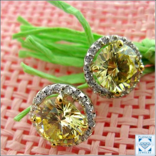Fancy Canary Cz Earrings