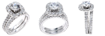 high end 1 carat CZ Engagement Ring Set