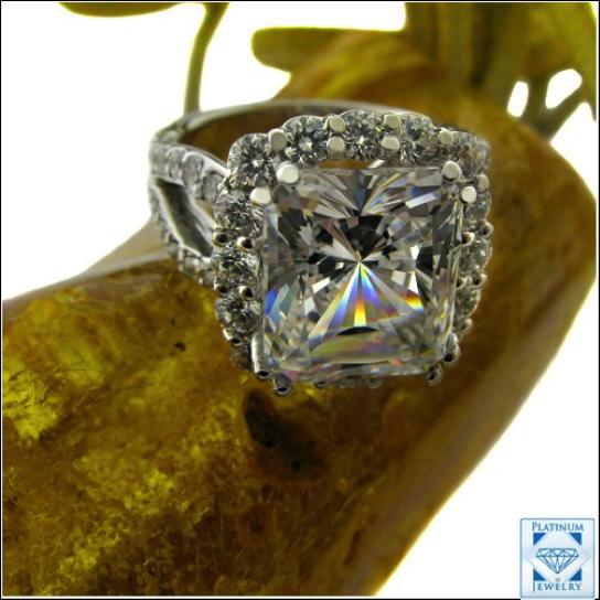 Diamond Simulated 5 Carat Radiant Platinum Ring